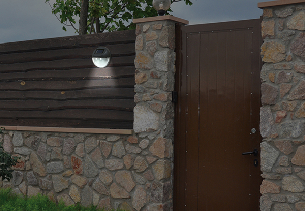 Round Solar-Powered Fence Light - Option for Four