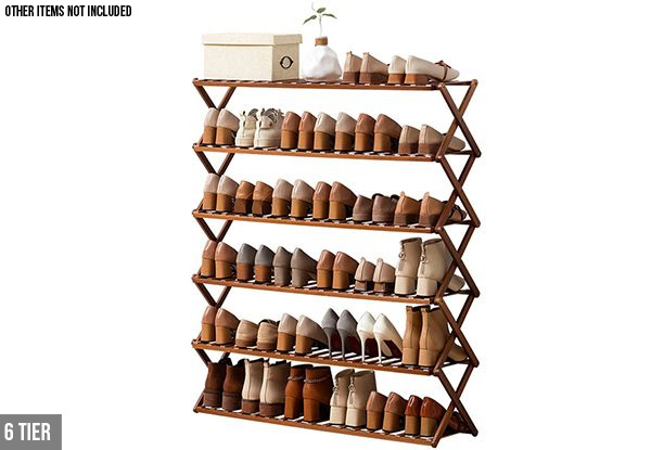 Tiered Bamboo Foldable Shoe Rack Organiser Range - Option for Five-Tier or Six-Tier