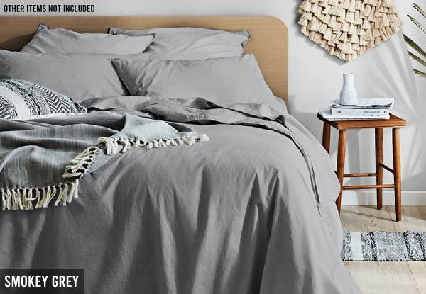 Canningvale Vintage Softwash Sheet Set Range - Two Sizes & Ten Colours Available with Free Delivery