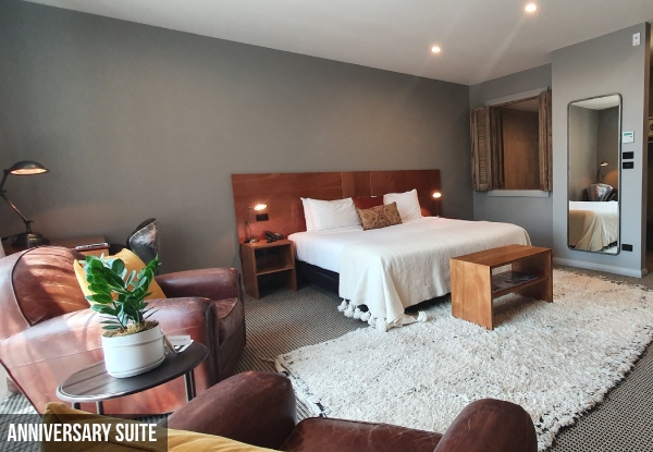 One-Night Romantic New Plymouth Escape for Two People in a Premium Lux, Anniversary or Left Wing Spa Suite incl. Food & Beverage Credit, Cheese Platter & Bottle of Wine - Option for Two Nights