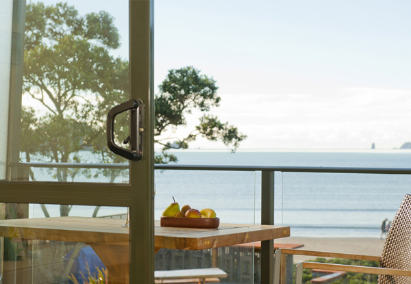 Coromandel Beachfront Break for Two People - Options for a Two or Three-Night Stay incl. Late Checkout, Free WiFi & Use of Kayaks, Beach Bar, BBQ Deck & Spa Pool