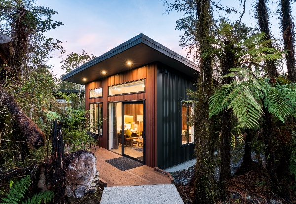 Two-Night TranzAlpine West Coast Glacier Country Getaway for Two People to The Rainforest Retreat In Franz Josef incl. Private Hot Pool Access, Return Train Tickets & Rental Car Hire - Option for Deluxe Stay incl. Breakfast Hamper & Welcome Drinks