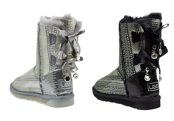 Aussie Connection Women's Short Sequin Double Ribbon Sheepskin UGG Boots - Two Colours Available