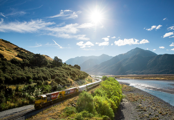 TranzAlpine Return Rail Trip from Christchurch to Greymouth for Two incl. Accommodation & Activities - Options for up to Four-People for One or Two Nights