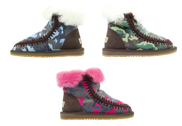Auzland Women's 'Becky' Army Print Sheepskin UGG Boots - Three Colours Available