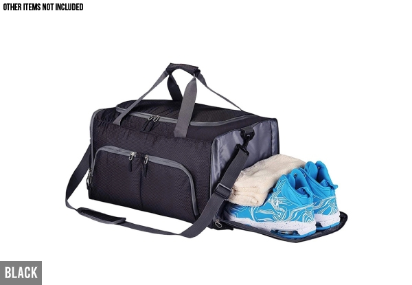 Sports Duffel Bag with Shoe Compartment - Available in Two Colours with Free Delivery