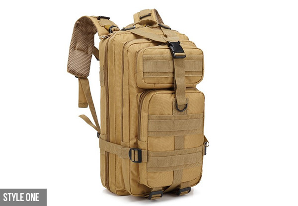 Outdoor Military Style Tactical Backpack - Eight Styles Available with Free Delivery
