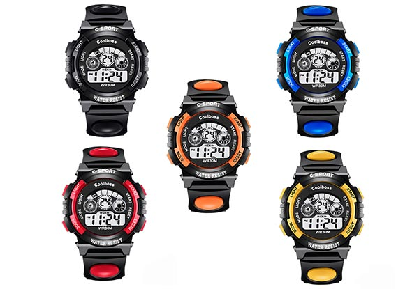 30-Metre Water-Resistant Children's Sport Watch - Two Sizes & Five Colours