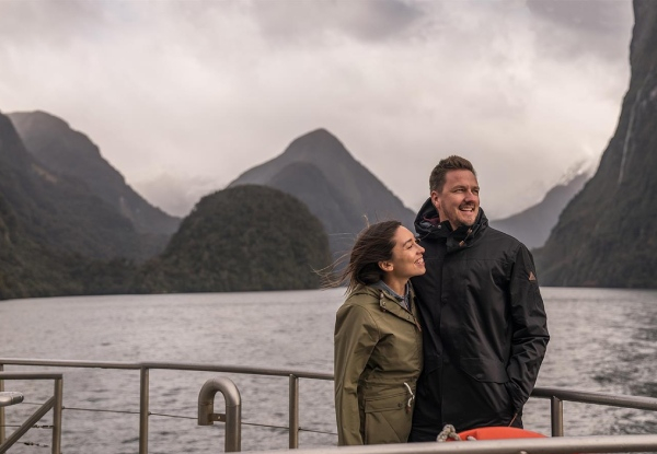 Two Day Fiordland Adventure for Two incl. 4-Star Accommodation, Milford Sound Coach, Cruise & Walk from Te Anau, Two Hour Fiordland National Park Jet Boat Experience, Dinner & Drinks, Breakfast Daily & More - Option for Four People or Family Packages