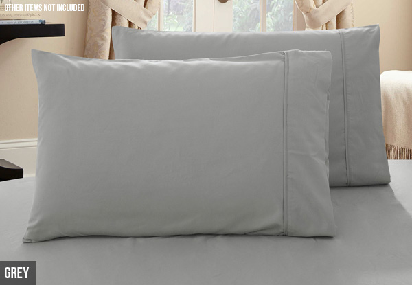 Two-Pack of 1000TC Premium Ultra Soft Pillowcases - Three Sizes & 10 Colours Available with Free Delivery