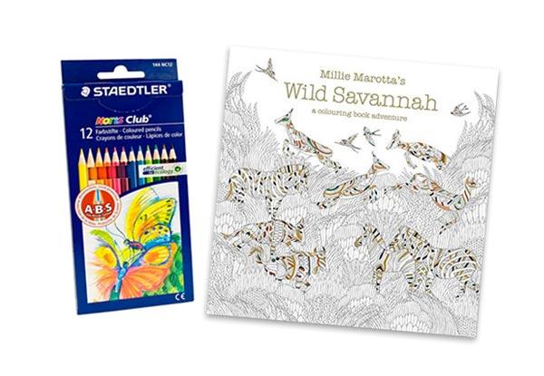 2399 For Millie Marottas Colouring Book Wild Savannah Incl 12 Staedtler Coloured Pencils
