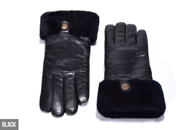 Auzland Women's 'Chloe' Classic Leather UGG Gloves - Two Colours Available