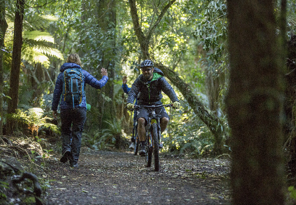 Two-Night Epic Ohakune Old Coach Road Bike or Walk Adventure for Two People in the Private or Ensuite Room incl. Transport, Bike Rental, Breakfast, Access to the Hot Tub & Sauna