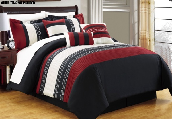 Seven-Piece Embroidered Burgundy Comforter Set - Two Sizes Available