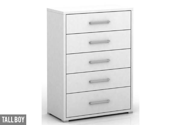 Polo White Drawer Range - Options for a Tall Boy or a Low Boy Available