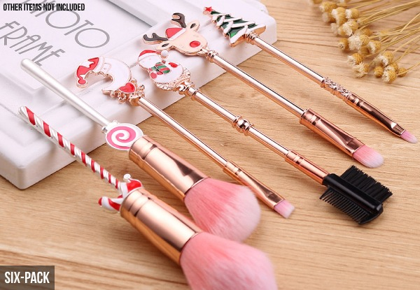 Five-Pack of Christmas Themed Makeup Brushes Set - Option for Six-Pack
