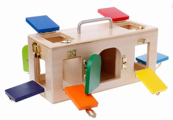 Kid's Wooden Play Colourful Lock Box