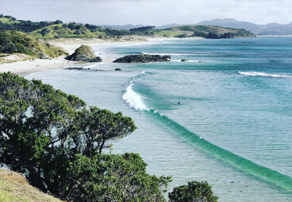 Two-Hour Surf Lesson incl. Board & Wetsuit Hire at Tawharanui - Options for Two People - Weekends Only