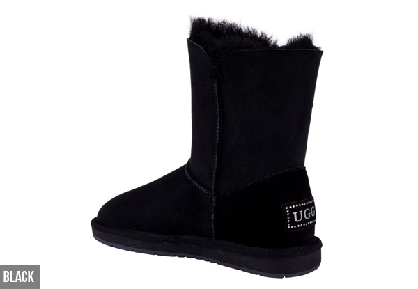 Auzland Women's 'Beetta' Short Crystal Button Sheepskin UGG Boots - Three Colours Available