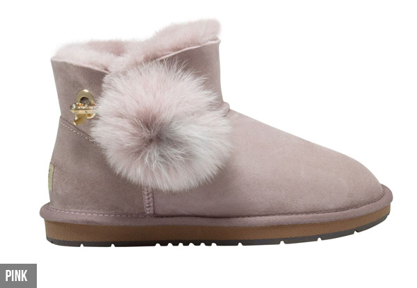 Auzland Women's Mini Pom Pom Diamante Button UGG Boots - Three Colours Available