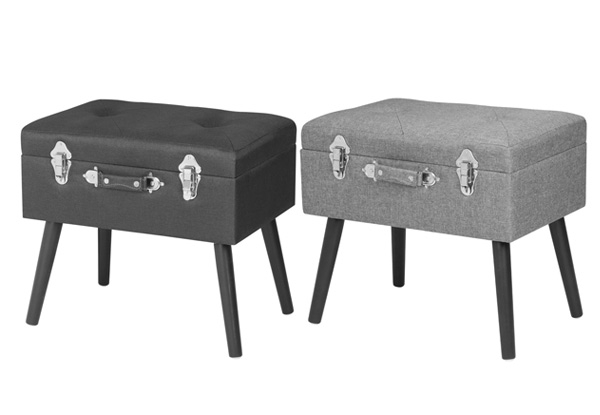 Retro Suitcase Storage Ottoman - Two Colours Available