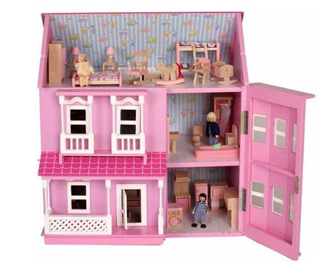 large wooden doll house set grabone nz. Black Bedroom Furniture Sets. Home Design Ideas