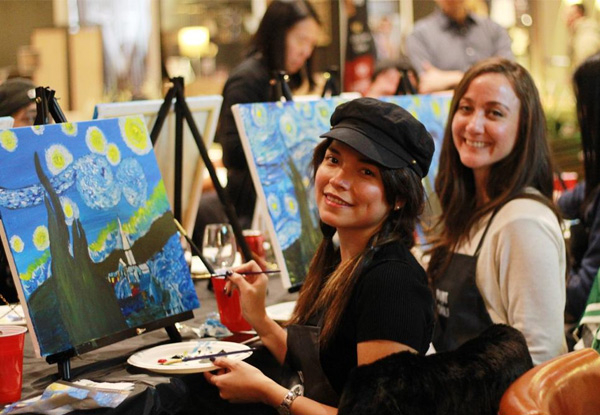Social Painting Class for One Person incl. Beverage Hosted at Auckland City Hotel for One Person - Option for up to Ten People