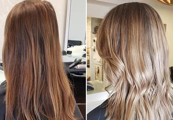 Half Head of Foils or Global Colour incl. OLAPLEX Treatment, Shampoo Service, Head Massage, Style Cut & Blow Dry Finish - Three Locations Available
