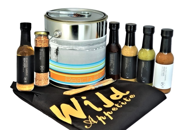 Wild Appetite Beach Bach BBQ Can with Apron & Marinade Brush