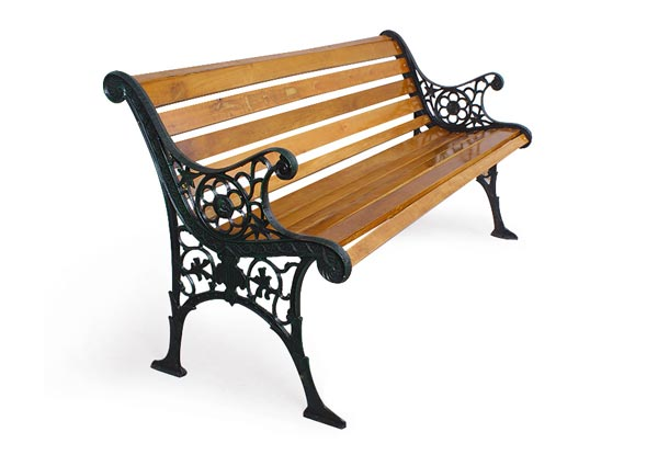 Classic Garden Park Bench with Hardwood Slats