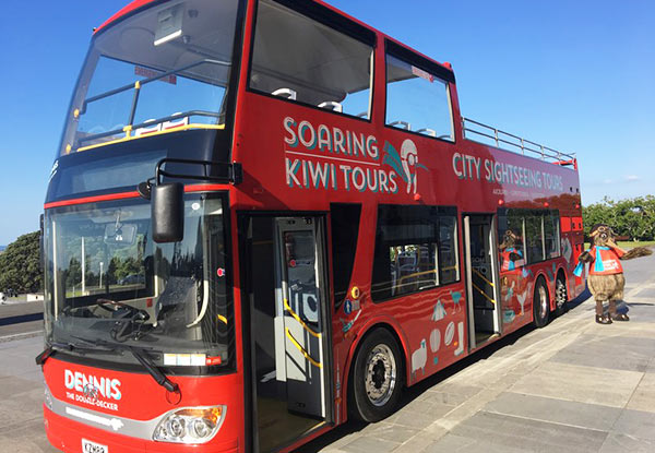"Auckland's Open Top Double Decker ""Hop-on Hop-off"" City Tour - Central Tour Adult Pass incl. Entry for Two Children Under 15"
