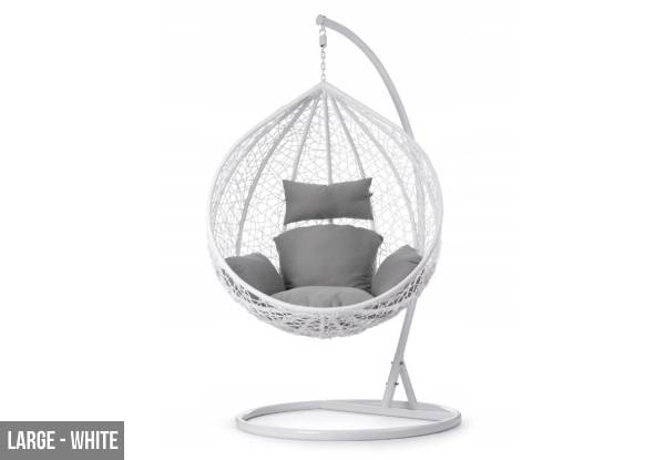 Outdoor Rattan Hanging Egg Shape Chair - Two Colours Available
