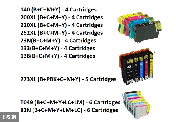 Set of Printer Cartridges Compatible with HP, Brother, Epson & Canon Printers with Free Delivery