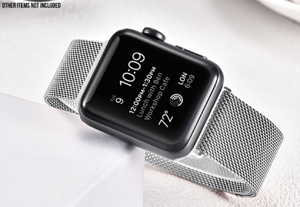 Stainless Steel Watch Band Compatible with Apple Watch - Two Sizes & Two Colours Available