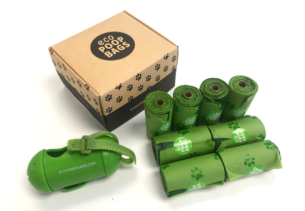 4 Rolls of 100% Compostable Eco Dog Poop Bags incl. Dispenser - Options for 8 or 12 Rolls