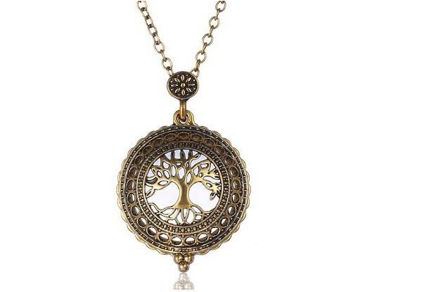 Antique Magnifying Tree Necklace with Free Delivery