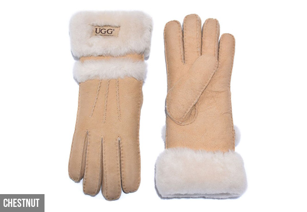 Auzland Women's 'Cora' Leather Suede Double Cuff UGG Gloves - Two Colours Available