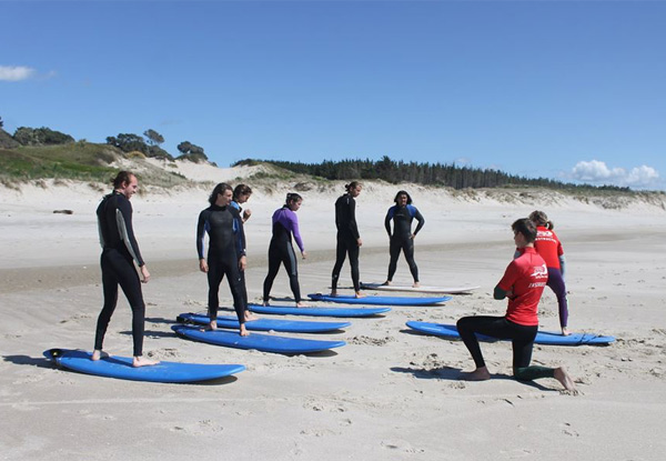 Two-Hour Group Surfing New Zealand Lesson incl. Board & Wetsuit Hire for One Person - Options for Two People or a Private Lesson - Valid for Saturday & Sunday Only