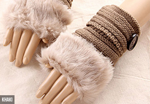 Faux Fur Trimmed Fingerless Gloves - Eight Colours Available
