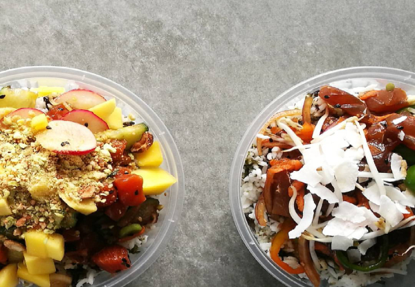 Healthy Regular Hawaiian Yeah Bowl Poke with a Japanese Twist - Option for Two Bowls - Available at Two Locations