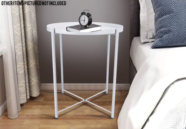 Metal Round Tray Side Table - Two Colours Available
