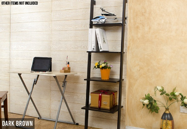 Four-Tier Leaning Ladder Book Shelf - Two Colours Available