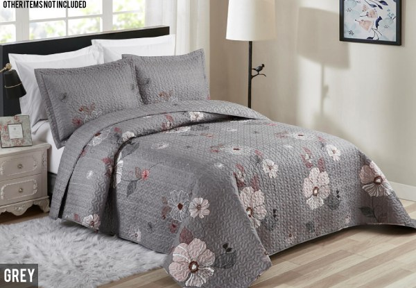 Summer Floral Bedspread Set - Three Colours & Two Sizes Available