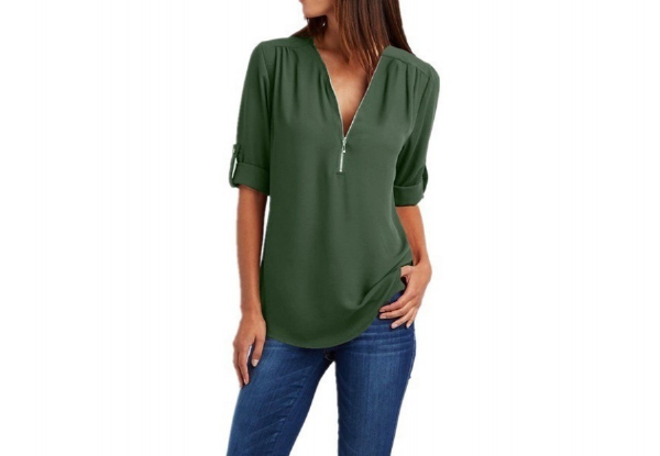 V-Neck Fold-Up Long Sleeve Sheer Top - Six Colours & Seven Sizes Available with Free Delivery