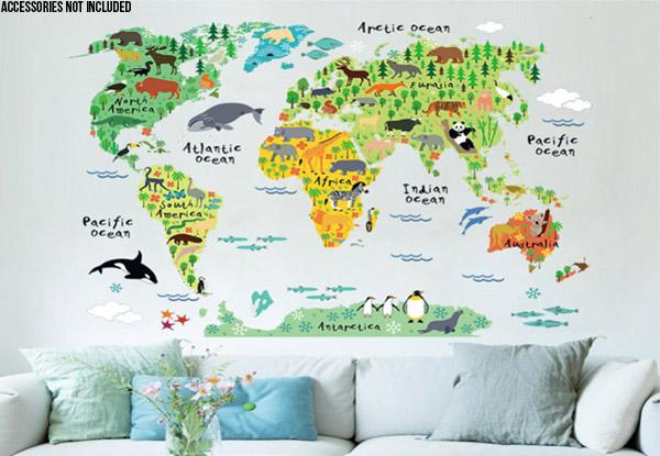 Animal world map wall sticker grabone nz animal world map vinyl wall sticker gumiabroncs Choice Image