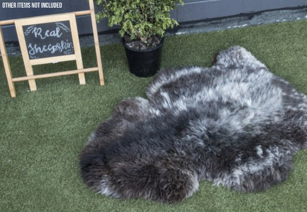Premium, Large Natural Black Sheepskin Single Rug