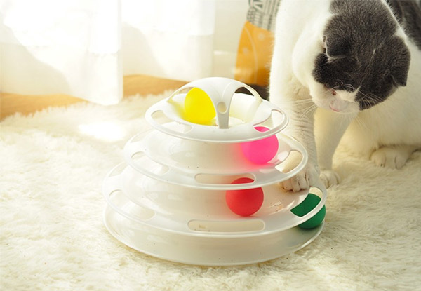 Interactive Cat Roller Ball Four-Level Tower