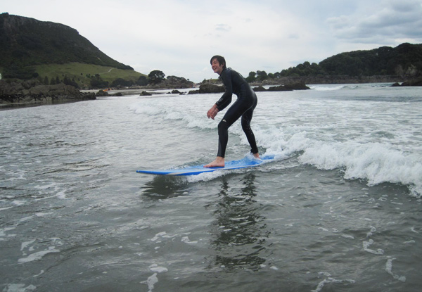 Two-Hour Beginner Surf Lesson for One Person incl. Board, Wetsuit Hire & Return Voucher for One-Hour Surf Gear Hire for the Next Visit - Option for Two People