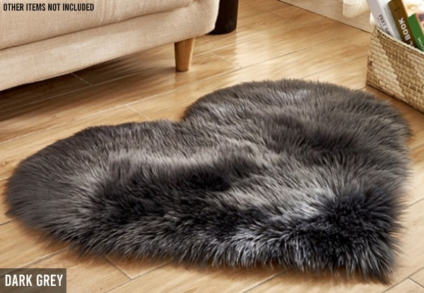 Heart-Shaped Fluffy Rug - Five Colours Available
