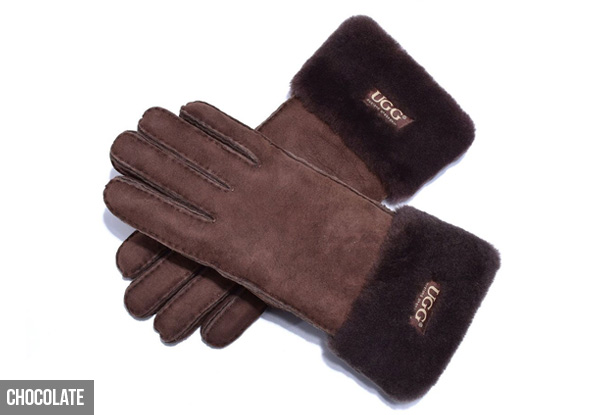 Auzland Women's 'Carly' Leather Suede Button UGG Gloves - Two Colours & Three Sizes Available